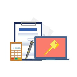 Real estate booking and rent concept, online booking with loan application and real estate application with elements of calculator, pen, Key, document and notebook