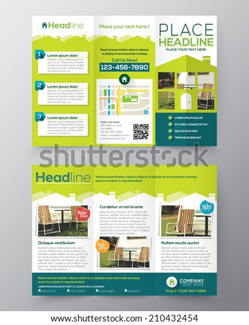 Real Estate Brochure Flyer design vector template in A4 size Tri fold