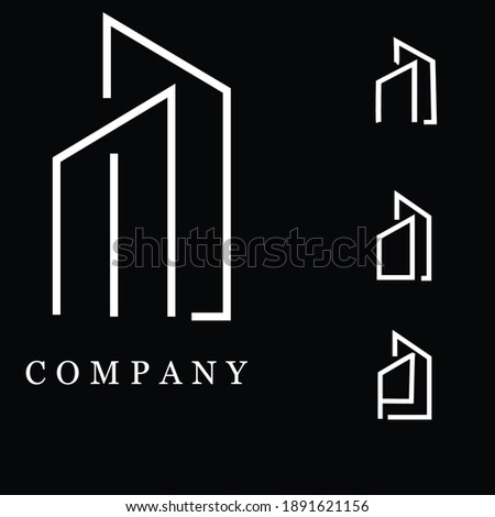 real estate building combined letter M, N, O, P logo Foto stock ©