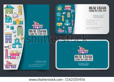 Real estate business flyer and business cards set. Background for advertisement, invitation, brochure template. Hand drawn cartoon style design concept. Vector illustration.