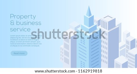 Real estate business isometric vector illustration. Buying, renting, selling business property concept. Landing website layout.
