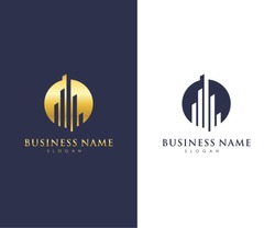 Real Estate Business Logo Template, Building, Property Development, and Construction Logo Vector Design Eps 10 with luxury gold color