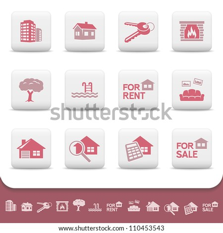 Real estate business. Professional vector icons buttons set. Home, house, sale, rent, cottage, building, skyscraper, keys, fireplace, pool, sofa, apartments, garage, tree, magnify, calculator symbols