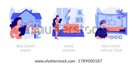 Real estate buying experience abstract concept vector illustration set. Real estate agent, home staging, real estate virtual tour, sale preparation, listing video walk-through abstract metaphor.