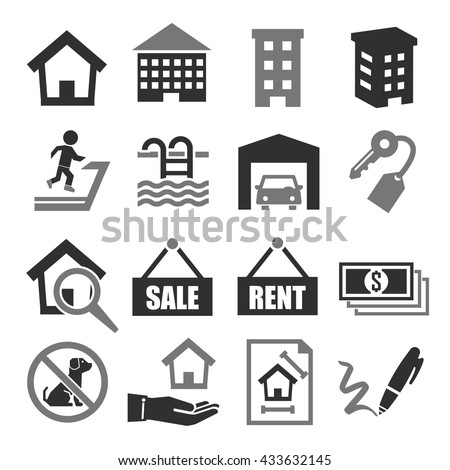 real estate, chattel icon set