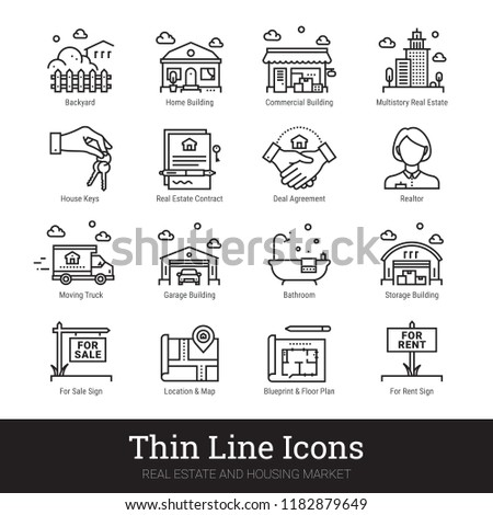 Real estate, city & homes thin line icons. Modern linear logo concept for web, mobile app. House building, commercial property, floor plan, moving service, city map, realty business vector icons set.