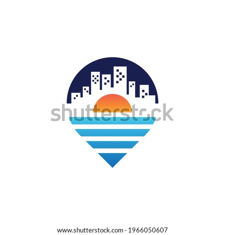 Real Estate City Logo Vektor Ilustration Negatif Space Stok fotoğraf ©