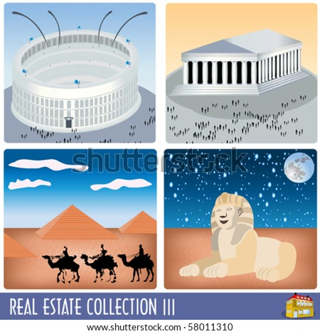 Real estate collection 3, famous ancient buildings: Colosseum, Parthenon, Pyramids and Sphinx