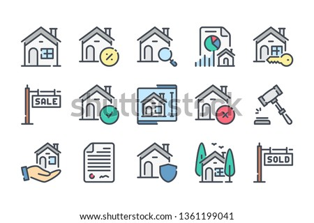 Real Estate color line icon set. Building and house linear icons. Mortage colorful outline vector sign collection.