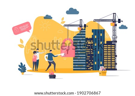 Real estate concept in flat style. Realtor unlocking lock with key scene. Residential real estate property, engineering and construction banner. Vector illustration with people characters in situation