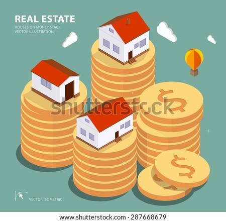 Real estate concept vector illustration. Price variation on real estate market. Flat isometric style concept design illustration.