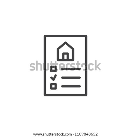 Real estate contract outline icon. linear style sign for mobile concept and web design. Agreement or rental document simple line vector icon. Symbol, logo illustration. Pixel perfect vector graphics