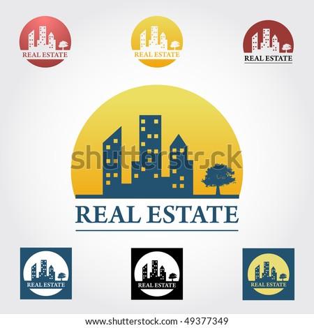 Real estate  design elements in different color variation