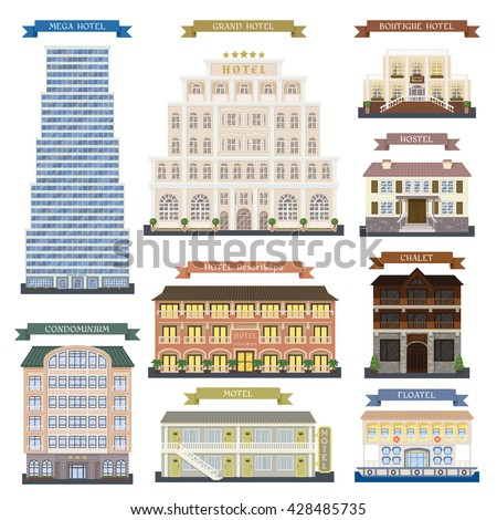 Real estate design hotel buildings vector set. Some architecture city and urban modern exterior symbol town. Houses for resting in vacation time perspective graphic center.
