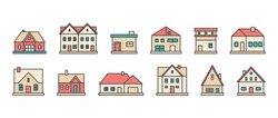 Real estate. Different buildings, houses. Minimalistic icons, logos. Colorful graphic vector set. Cartoon style, simple flat design. Trendy illustration. Every icon is isolated on a white background