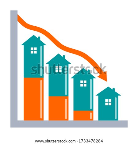 Real estate downturn concept. Graph showing decline in house value with negative equity growth indicator.