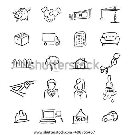 Real estate drawing icons set