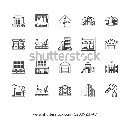 Real estate flat line icons set. House sale, commercial building, country home area, skyscraper, mall, kindergarten vector illustrations. Infrastructure signs. Pixel perfect 64x64. Editable Strokes.