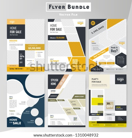 Real Estate flyer bundle Design template collection. Layout in A4 size.