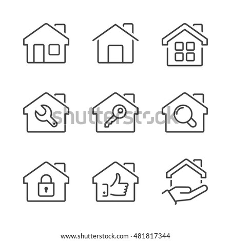 real estate house icons set, thin line, black color