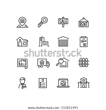 Real estate, house, property for sale, search apartment thin line vector icons