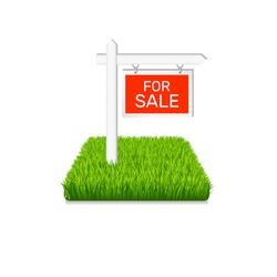 Real estate icon. Land for sale sign on green grass