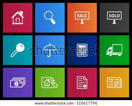 Real estate icon series in Metro style