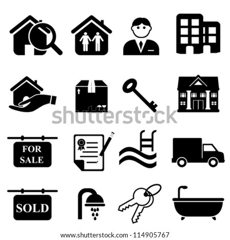 Real estate icon set in black - stock vector