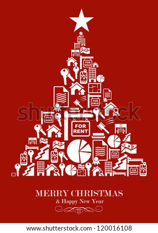 Real estate icon set in Christmas Tree greeting card. Vector illustration layered for easy manipulation and custom coloring. - stock vector