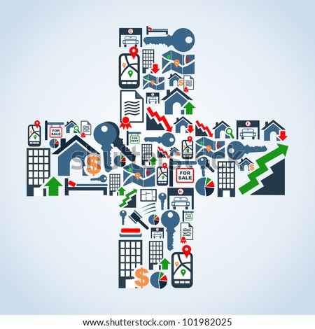 Real estate icon set in cross symbol shape background illustration. Vector file layered for easy manipulation and custom coloring.
