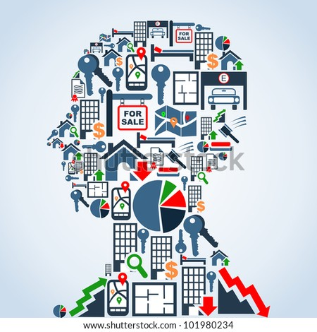 Real estate icon set in man head shape background illustration. Vector file layered for easy manipulation and custom coloring.