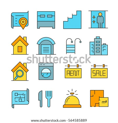 real estate icons color style #564585889