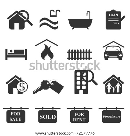 Real estate icons in gray - stock vector