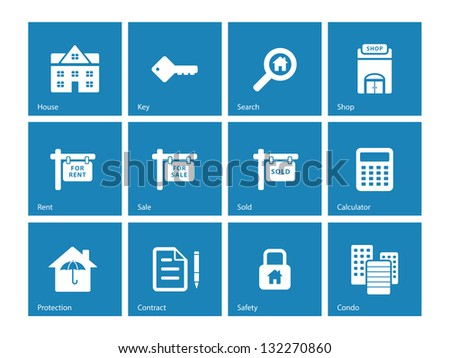 Real Estate Icons on blue background. Vector illustration.