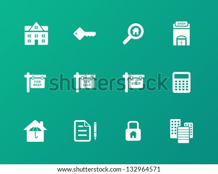 Real Estate Icons on green background. Vector illustration.