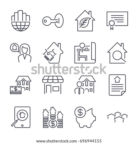 real estate icons on the white