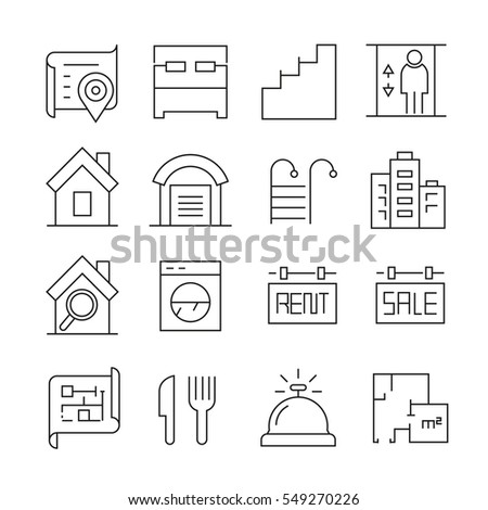 real estate icons on white background #549270226