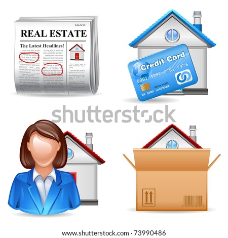 real estate icons set 2 - ad, mortgage, realtor, purchase