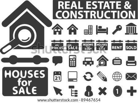 real estate icons set, vector illustrations