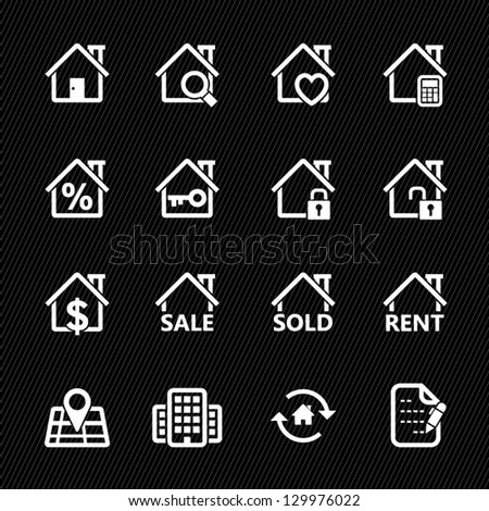Real Estate Icons with Black Background