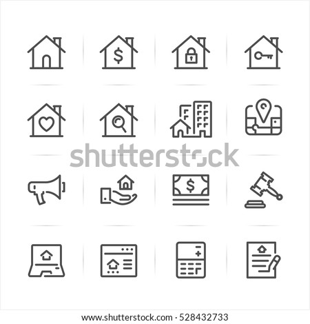 Real Estate icons with White Background
