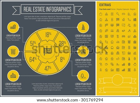 Real Estate infographic template and elements. The template includes the following set of icons - Real estate agent,, seminar, presentation, training, dollar sign, electronic key and more. Modern