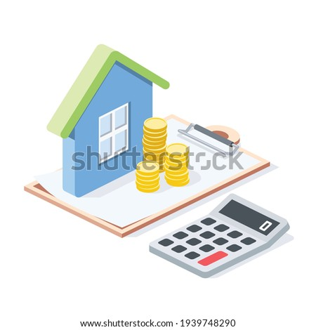 Real estate investment, calculator, coins money, stroke illustration. Vector 3d line isometric, color web icons, new flat style. Creative design idea for infographics. Foto stock ©