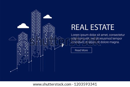 Real estate investment graphic with skyscrapers and clouds.