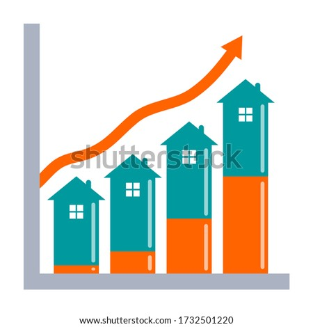 Real estate investment growth concept. Graph showing growth in house value with equity growth indicator.