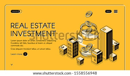 Real estate investment isometric landing page, dollar coins falling to huge jar surrounded with city buildings, invest fund increase money finance business. 3d vector illustration, line art web banner