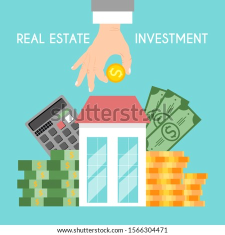 Real estate investments, saving money vector illustration. Hand with coin, house loan, mortgage debt. Property investment financial concept