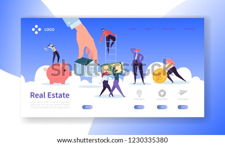 Real Estate Landing Page. Investment in Property Banner with Flat People Characters Buying Apartments Website Template. Easy Edit and Customize. Vector illustration #1230335380