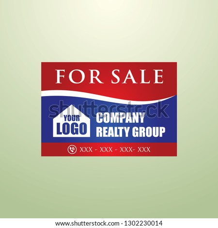 Real Estate Lawn Sign, House For sale yard sign