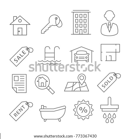 Real Estate Line Icons on white